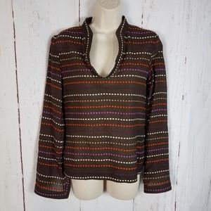 Tory Burch 2 Brown Embroidered Tunic Top Blouse